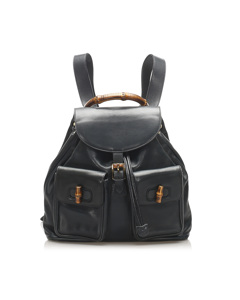 Gucci Bamboo Drawstring Leather Backpack Black