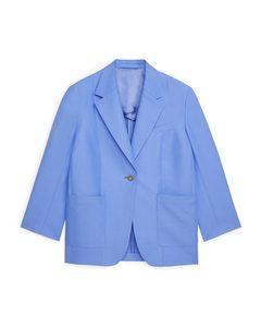 Oversized Cotton-hemp Blazer Blue