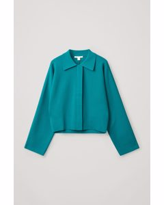 Cropped Knitted Jacket Teal