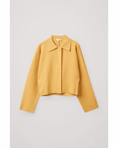 Cropped Knitted Jacket Yellow
