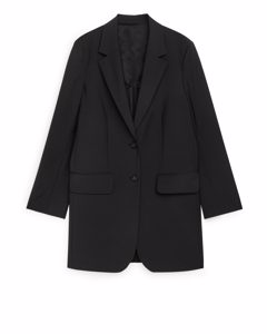 Long Wool Blend Blazer Black