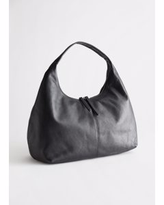Slouchy Leather Tote Bag Black