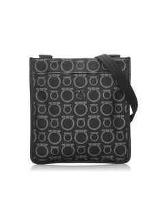 Ferragamo Gancini Canvas Crossbody Bag Black