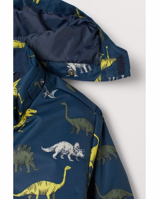 H&M Water-repellent padded jacket Dark blue/Dinosaurs