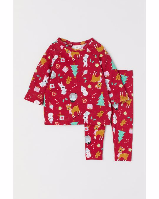 H&M Dress and leggings Red/Patterned
