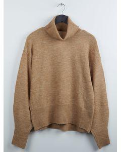 Fine-knit polo-neck jumper Beige marl