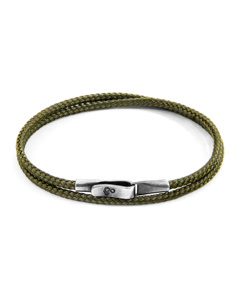 Anchor & Crew Khaki Green Liverpool Silver And Rope Bracelet