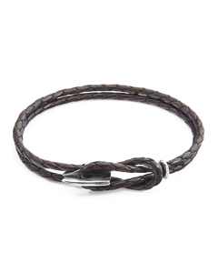 Anchor & Crew Dark Brown Padstow Silver And Braided Leather Bracelet