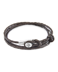 Anchor & Crew Dark Brown Dundee Silver And Braided Leather Bracelet