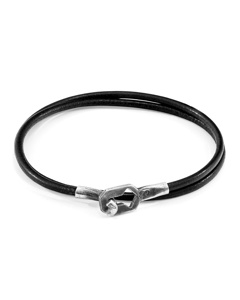 Anchor & Crew Raven Black Tenby Silver And Round Leather Bracelet