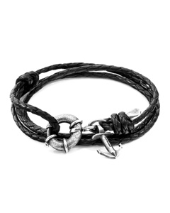 Anchor & Crew Coal Black Clyde Anchor Silver And Braided Leather Bracelet