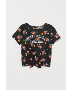 Shirt zum Binden Schwarz/Pfirsiche