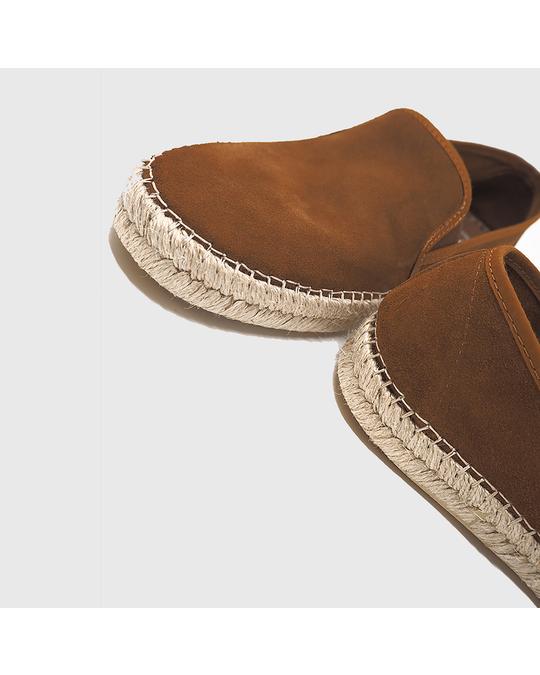 Hanks Grayson Suede Espadrilles Leather Brown