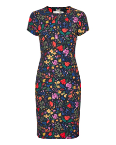 Abril Dress Black Watercolour Flowers