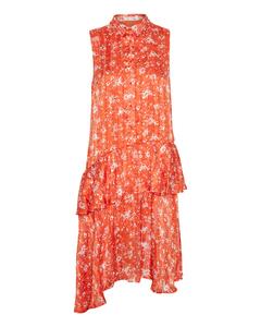 Selena Dress Blood Orange Drissle Flower