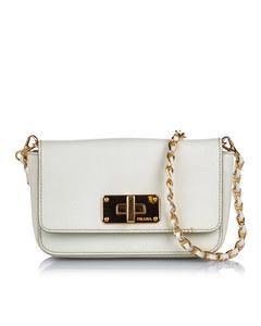 Prada Saffiano Leather Crossbody Bag White