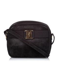 Ferragamo Vara Bow Nubuck Leather Crossbody Bag Black