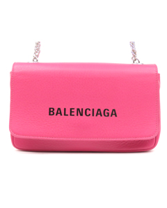 Balenciaga Everyday Leather Wallet On Chain Pink