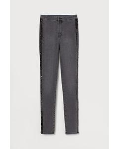 Slim High Jeans Donkergrijs/pailletten