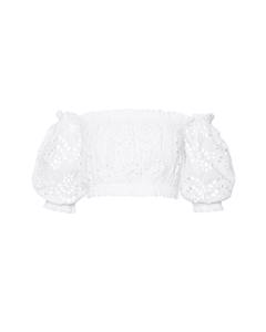 Off Shoulder Puff Top White