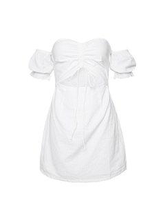 Drawstring Puff Sleeve Dress White