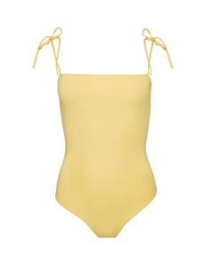 Straight Neckline Swimsuit Yellow