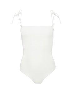 Straight Neckline Swimsuit Off White