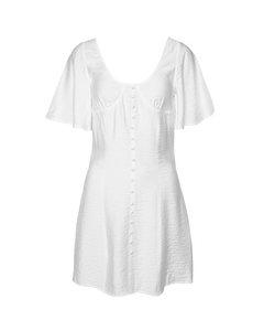 Button Up Corset Dress White