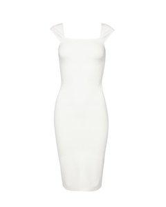 Cap Sleeve Bodycon Dress Off White