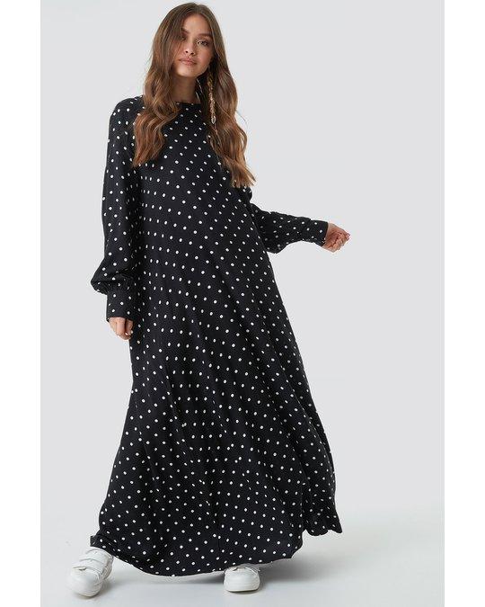 NA-KD Smock Maxi Dress Black/white