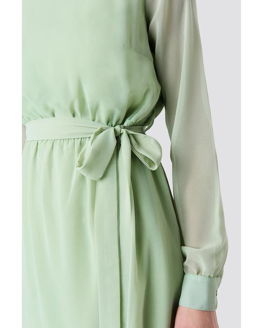 NA-KD Chiffon Dress Green
