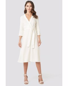 Belted Wrap Midi Dress Offwhite