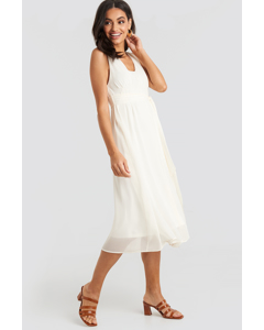 Belted Chiffon Midi Dress White
