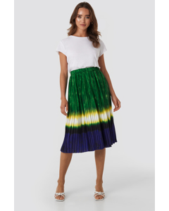 Tie Dye Pleated Midi Skirt Green