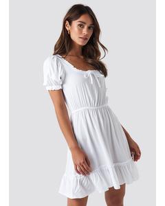 Puff Sleeve Mini Dress Optical White