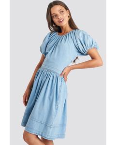 Puff Sleeve Denim Mini Dress Light Blue