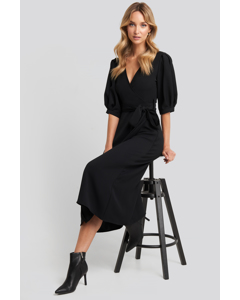 Puff Sleeve Wrap Midi Dress Black