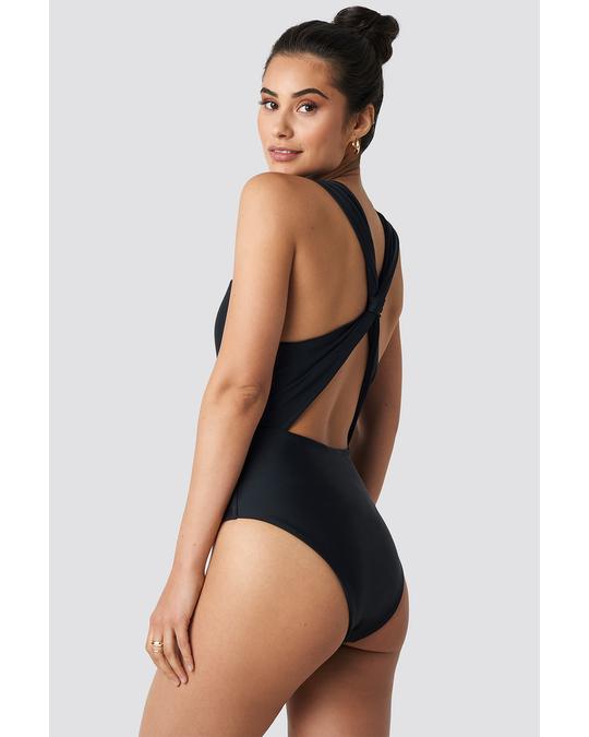 NA-KD Wide Straps Cross Back Swimsuit Black