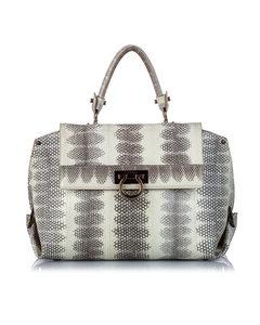 Ferragamo Python Leather Sofia Handbag White