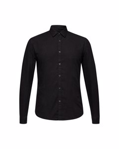 Men's Shirt Woven Long Sleeve, Black Dark Wash