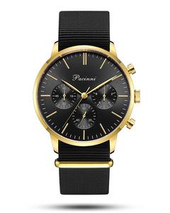 Pacinni Chronograph Black Gold - Nato Black