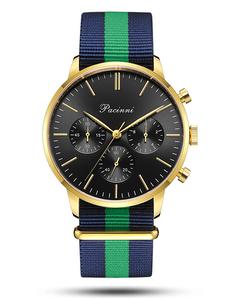 Pacinni Chronograph Black Gold - Nato Blue Green