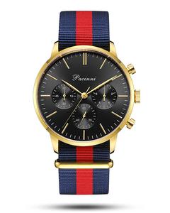 Pacinni Chronograph Black Gold - Nato Blue Red