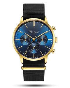 Pacinni Chronograph Blue Gold - Nato Black