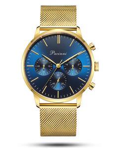 Pacinni Chronograph Blue Gold Mesh