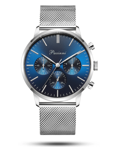 Pacinni Chronograph Blue Silver Mesh