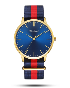Pacinni Classic Blue Gold - Nato Blue Red
