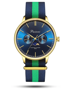 Pacinni Moonphase Blue Gold - Nato Blue Green
