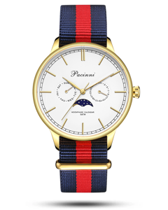 Pacinni Moonphase White Gold - Nato Blue Red