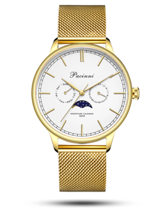 Pacinni Moonphase White Gold Mesh